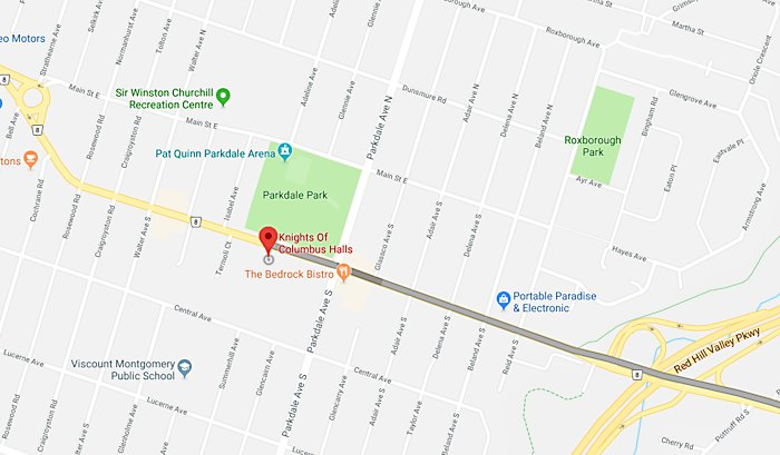 map to Knights of Columbus HVFM meeting location